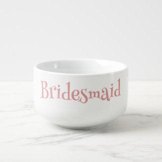 Beautiful Bridesmaid Graphic Pink and White Soup Mug