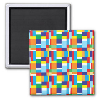 Beautiful Bright Colorful Blocks Plaid Squares Refrigerator Magnet