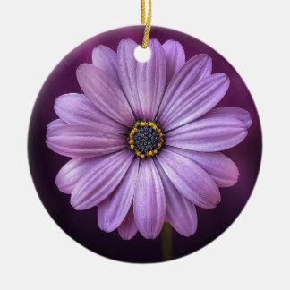 Beautiful, bright, elegant, pink-purple daisy ceramic ornament