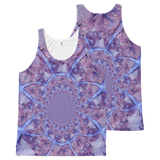Beautiful bright, fractal purple kaleidoscope All-Over print singlet