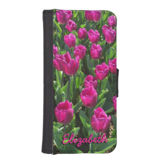 Beautiful Bright Hot Pink Tulips Personalized iPhone SE/5/5s Wallet Case