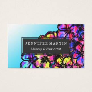 Beautiful Bright Neon Tie Dye Painted Flowers Business Card