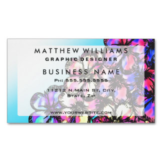 Beautiful Bright Neon Tie Dye Painted Flowers Magnetic Business Cards