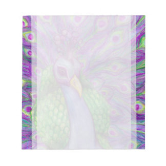 Beautiful Bright Peacock Portrait Painting Notepads
