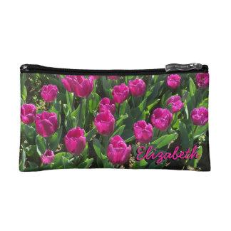 Beautiful Bright Pink Tulips Personalized Makeup Bag
