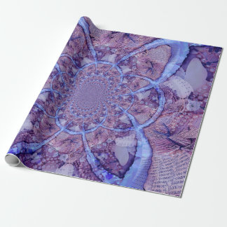 Beautiful bright, psychedelic purple kaleidoscope wrapping paper