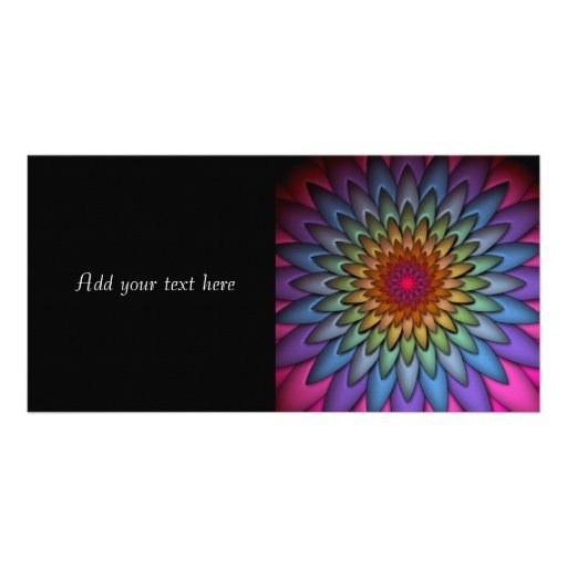 Beautiful Bright Rainbow Flower Photo Card