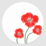 Beautiful  bright red poppy flowers image stickers