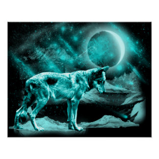 Beautiful brightly blue Wolf Poster
