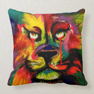 Beautiful brightly coloured lion painting throw pillow