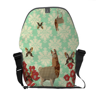 Beautiful Bronze Llama & Golddust Butterflies Mess Courier Bags
