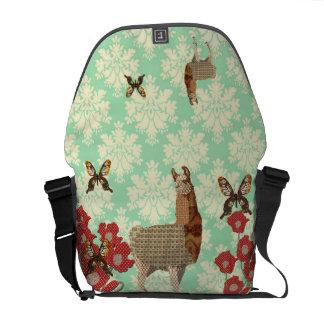 Beautiful Bronze Llama & Golddust Butterflies Mess Messenger Bags