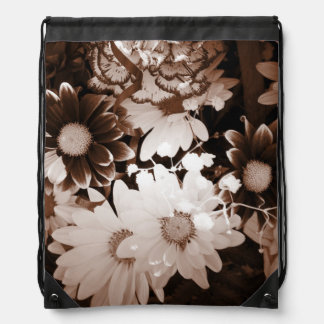 Beautiful brown and white floral design. rucksack