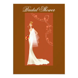 "Beautiful Brown Bridal Shower Invitation 5.5"" X 7.5"" Invitation Card"