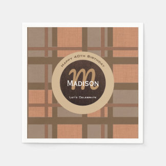 Beautiful Brown Contemporary Birthday Disposable Serviettes