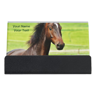 Beautiful Brown Horse Green Grass Desk Business Card Holder