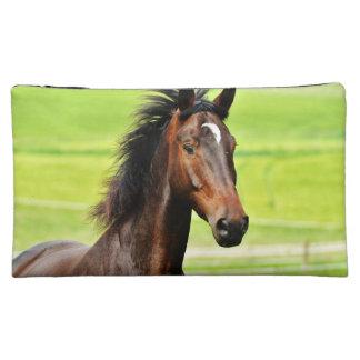 Beautiful Brown Horse Green Grass Makeup Bag