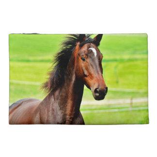 Beautiful Brown Horse Green Grass Travel Accessory Bag
