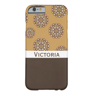 Beautiful Brown Retro Floral w/Name Barely There iPhone 6 Case