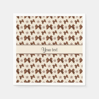 Beautiful Brown Satin  Bows Paper Napkin