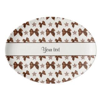 Beautiful Brown Satin  Bows Porcelain Serving Platter