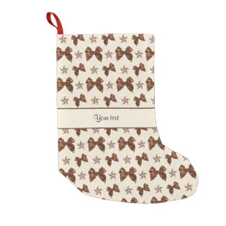 Beautiful Brown Satin  Bows Small Christmas Stocking