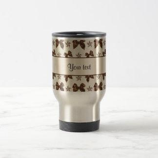 Beautiful Brown Satin  Bows Travel Mug