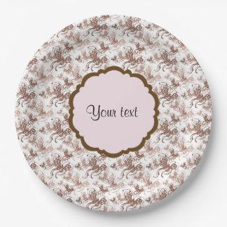 Beautiful Brown Swirly Butterflies Paper Plate