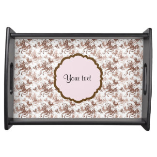 Beautiful Brown Swirly Butterflies Serving Tray