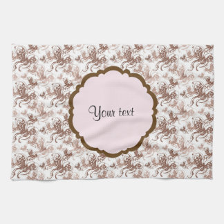 Beautiful Brown Swirly Butterflies Tea Towel