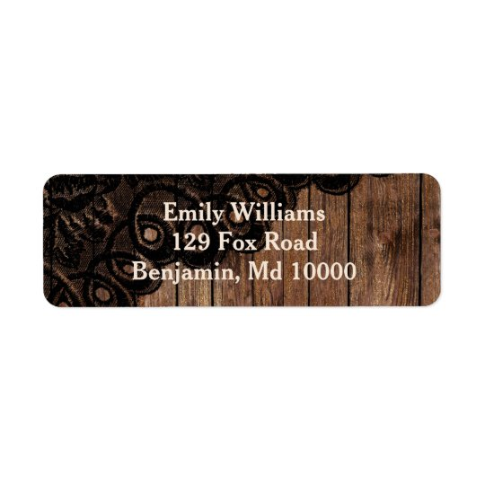 Beautiful Brown Wood and Faux Lace Return Address Label