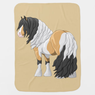 Beautiful Buckskin Pinto Gypsy Vanner Draft Horse Baby Blanket