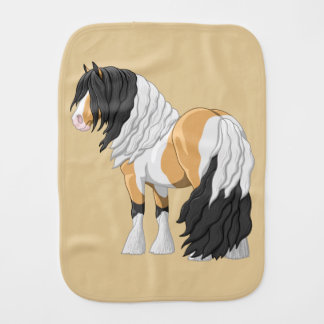 Beautiful Buckskin Pinto Gypsy Vanner Draft Horse Burp Cloth