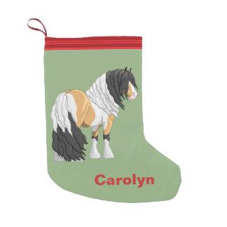 Beautiful Buckskin Pinto Gypsy Vanner Draft Horse Small Christmas Stocking