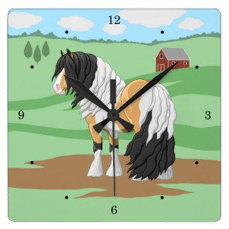 Beautiful Buckskin Pinto Gypsy Vanner Draft Horse Square Wall Clock