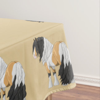 Beautiful Buckskin Pinto Gypsy Vanner Draft Horse Tablecloth