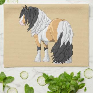 Beautiful Buckskin Pinto Gypsy Vanner Draft Horse Tea Towel