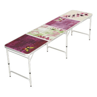 Beautiful Burgundy Butterfly Decorative Pong Table