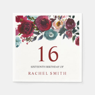Beautiful burgundy Floral 16th birthday sweet 16 Disposable Serviettes