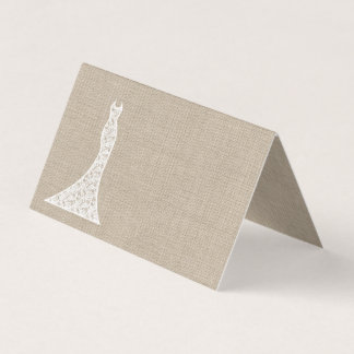Beautiful Burlap Bridal Shower Folded Place Cards