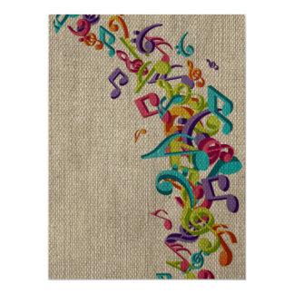 Beautiful burlap texture music notes sounds backgr 17 cm x 22 cm invitation card