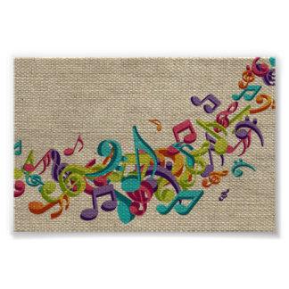 Beautiful burlap texture music notes sounds backgr photo