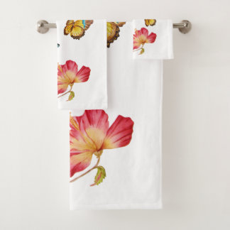 Beautiful Butterflies and Colorful Pink Hibiscus Bath Towel Set