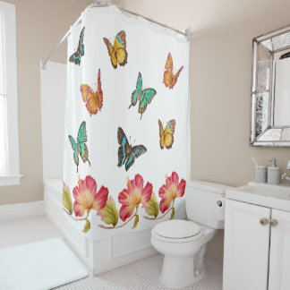 Beautiful Butterflies and Colorful Pink Hibiscus Shower Curtain