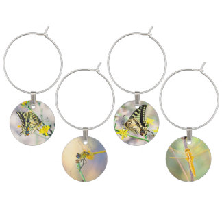 Beautiful Butterflies and Dragonflies Wine Charm