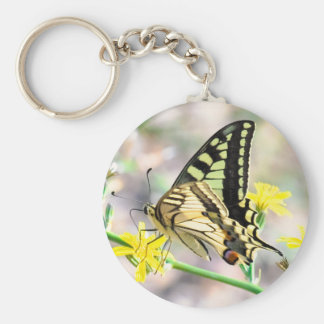 Beautiful Butterfly and Yellow Flowers Key Ring