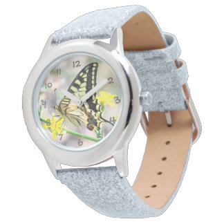Beautiful Butterfly and Yellow Flowers Wristwatch