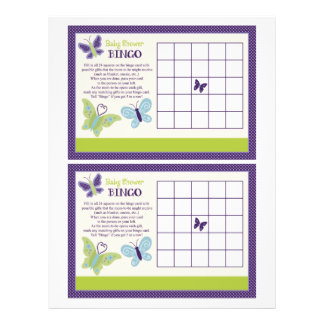 "Beautiful Butterfly ""Baby Shower Bingo"" sheet"
