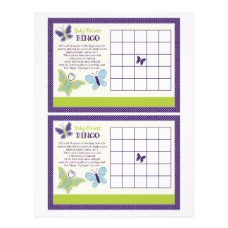 """Beautiful Butterfly """"Baby Shower Bingo"""" sheet 21.5 Cm X 28 Cm Flyer"""