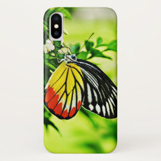 Beautiful Butterfly on Flowers iPhone X Case